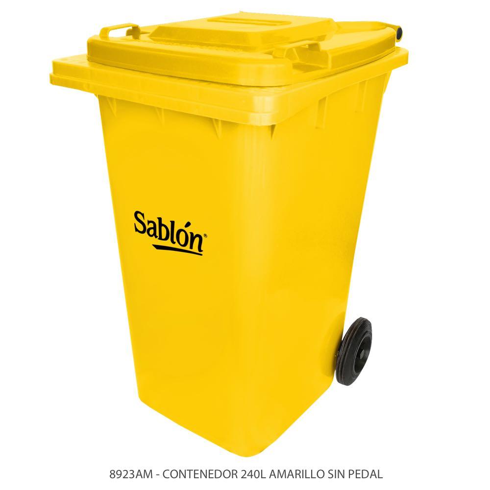 Contenedor de basura de 240 litros color amarillo con tapa de color amarillo sin pedal Modelo 8923AM Marca Sablón