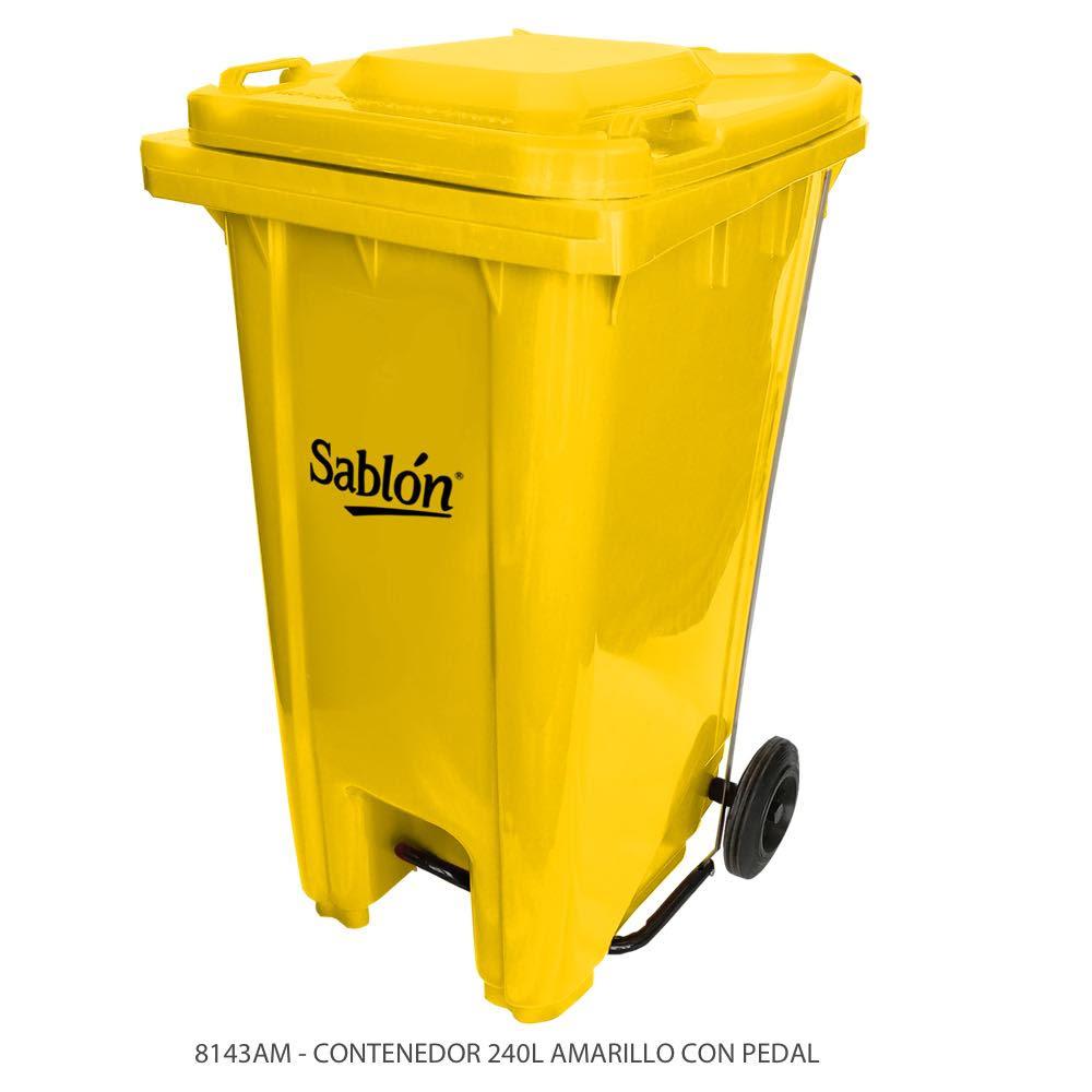 Contenedor de basura de 240 litros color amarillo con tapa de color amarillo y con pedal Modelo 8143AM Marca Sablón