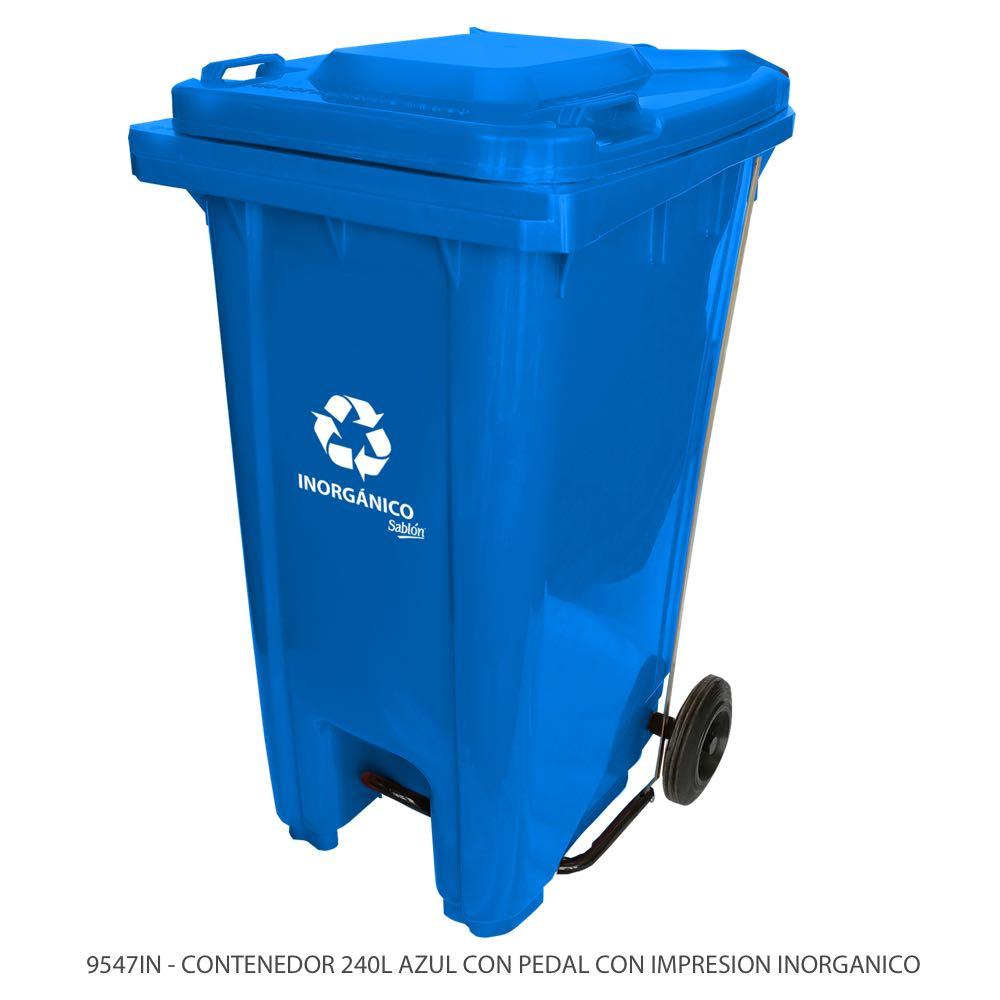 Contenedor de basura de 240 litros color azul con tapa azul con pedal y con impreso inorgánico Modelo 9547IN Marca Sablón