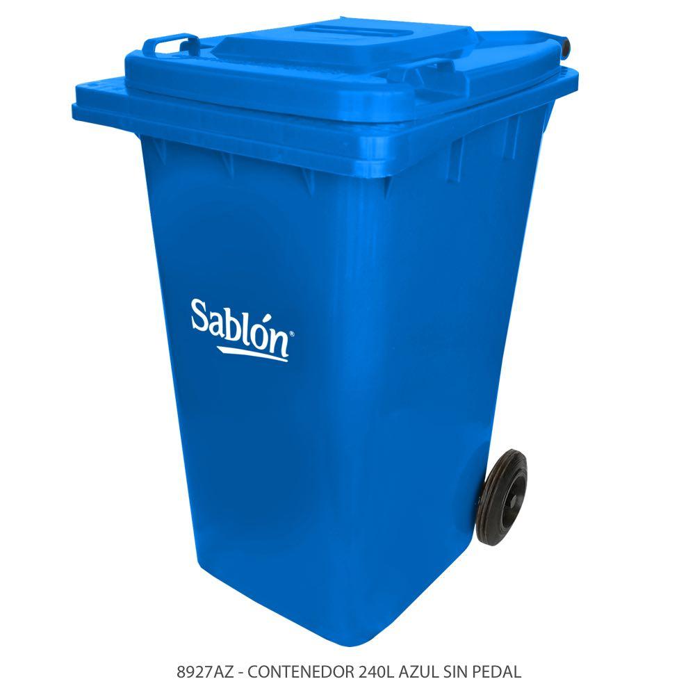 Contenedor de basura de 240 litros color azul con tapa de color azul sin pedal Modelo 8927AZ Marca Sablón