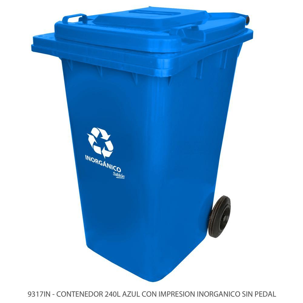 Contenedor de basura de 240 litros color azul sin pedal y con impreso inorgánico Modelo 9317IN Marca Sablón