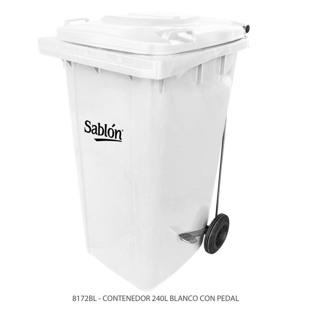 Contenedor de basura de 240 litros color blanco con tapa blanca y con pedal modelo 8172BL Marca Sablón