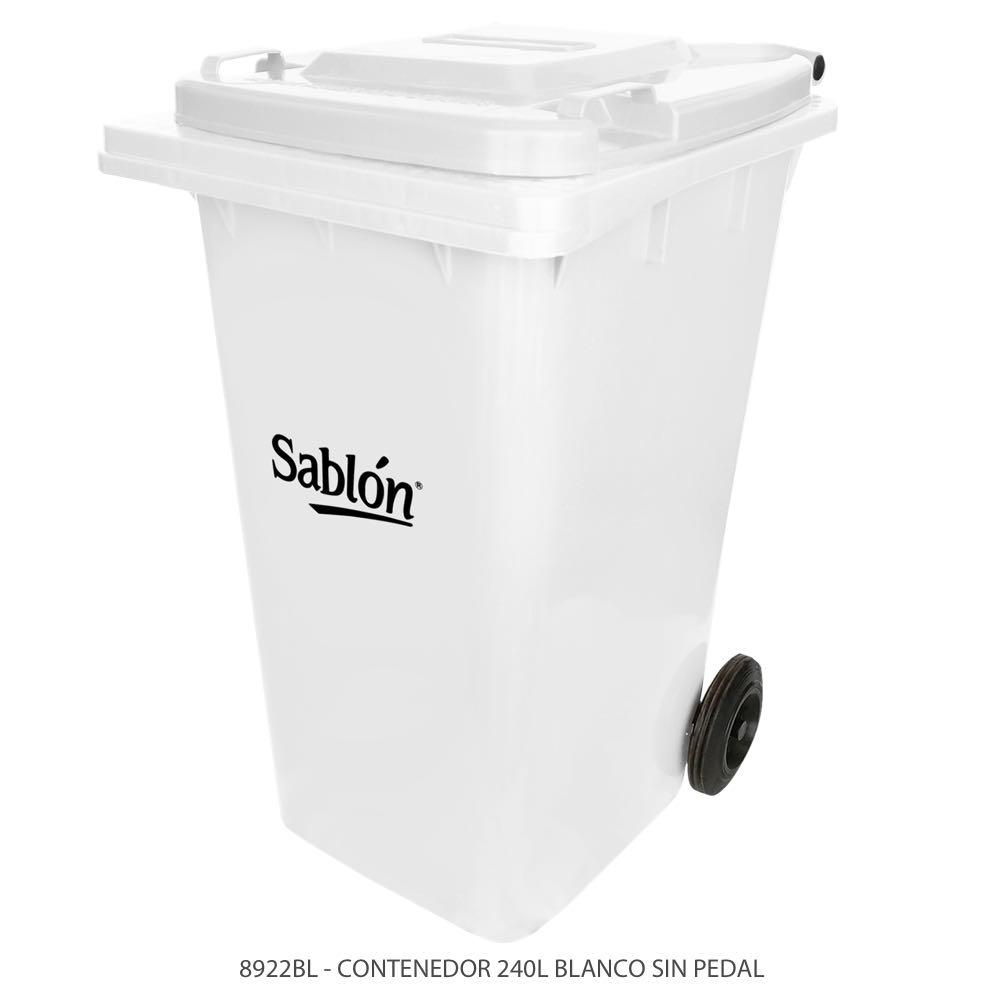 Contenedor de basura de 240 litros color blanco con tapa de color blanco sin pedal Modelo 8922BL Marca SablónContenedor de basura de 240 litros color blanco con tapa de color blanco sin pedal Modelo 8922BL Marca Sablón