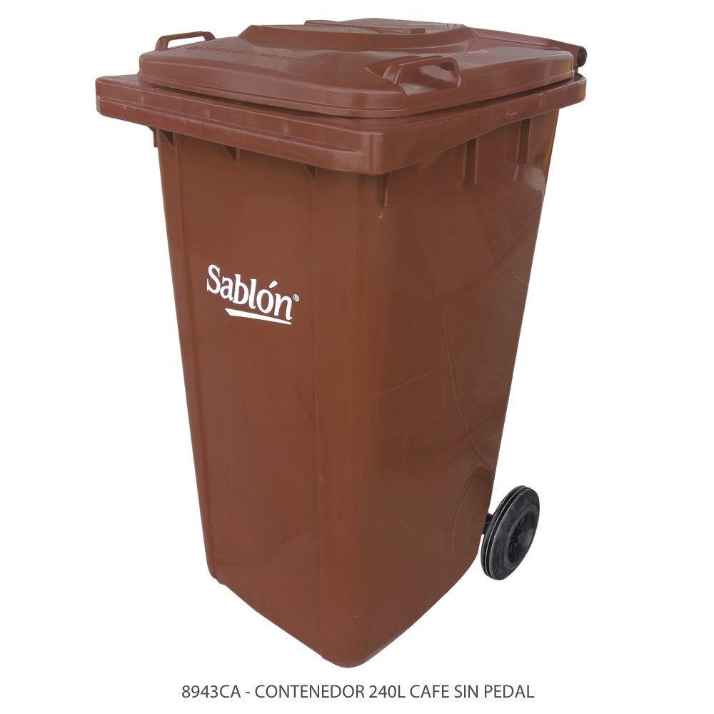 Contenedor de basura de 240 litros color café con tapa de color café sin pedal Modelo 8943CA Marca Sablón