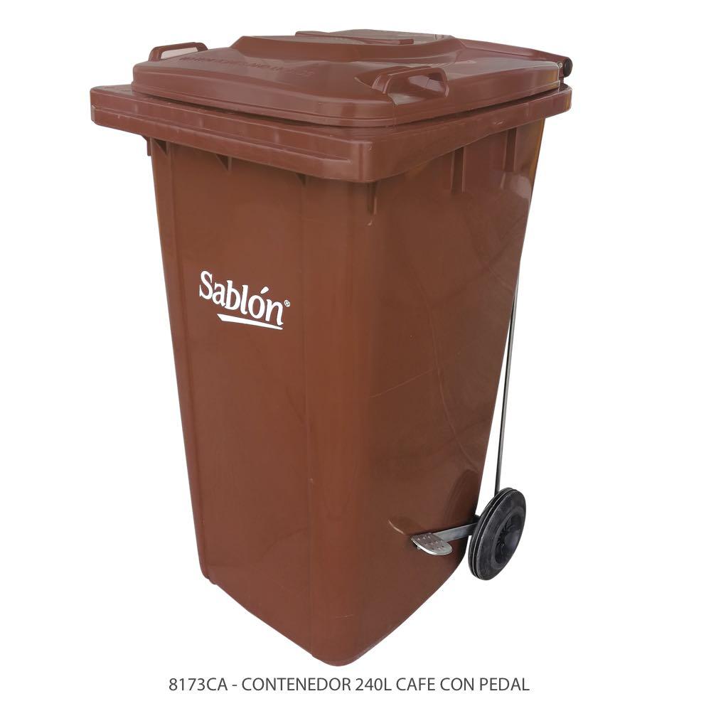 Contenedor de basura de 240 litros color café con tapa de color café y con pedal Modelo 8173CA Marca Sablón