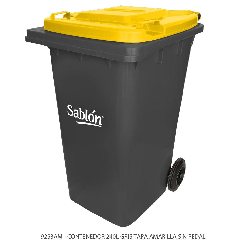Contenedor de basura de 240 litros color gris con tapa de color amarillo y sin pedal Modelo 9253AM Marca Sablón