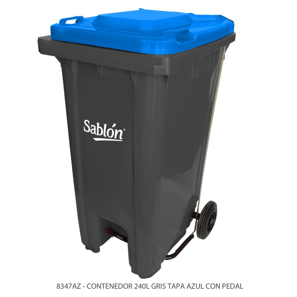 Contenedor de basura de 240 litros color gris con tapa de color azul y con pedal Modelo 8347AZ Marca Sablón