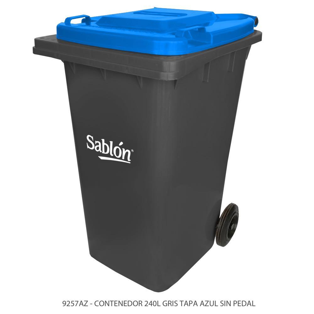 Contenedor de basura de 240 litros color gris con tapa de color azul y sin pedal Modelo 9257AZ Marca Sablón