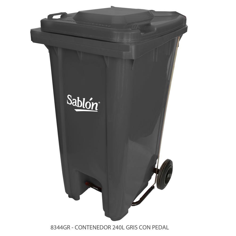 Contenedor de basura de 240 litros color gris con tapa de color gris y con pedal Modelo 8344GR Marca Sablón