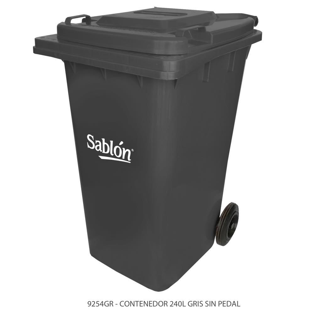 Contenedor de basura de 240 litros color gris con tapa de color gris y sin pedal Modelo 9254GR Marca Sablón