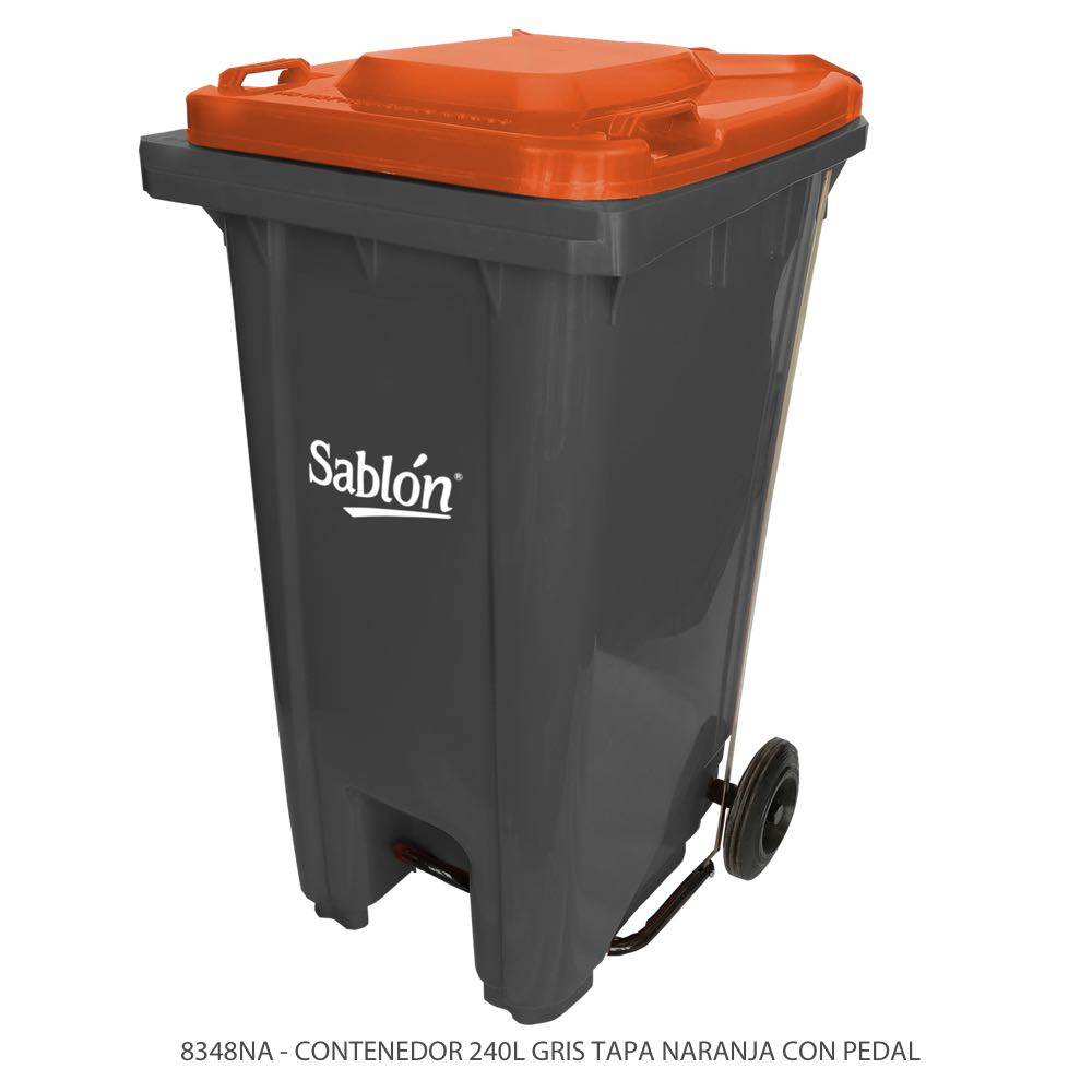 Contenedor de basura de 240 litros color gris con tapa de color naranja y con pedal Modelo 8348NA Marca Sablón