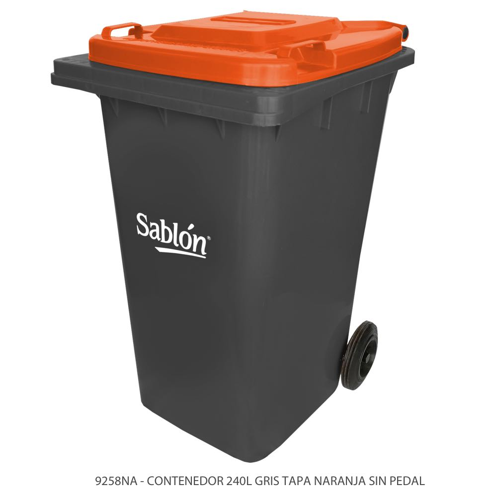 Contenedor de basura de 240 litros color gris con tapa de color naranja y sin pedal Modelo 9258NA Marca Sablón