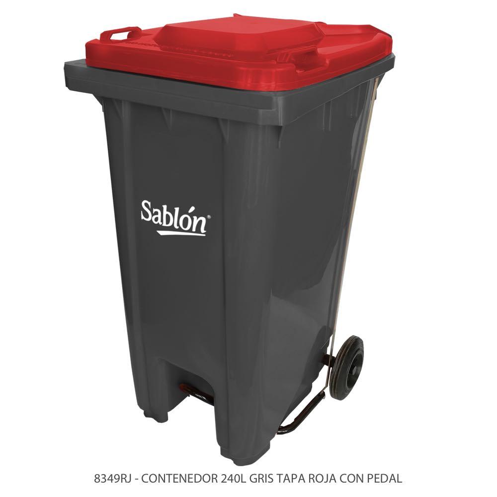 Contenedor de basura de 240 litros color gris con tapa de color rojo y con pedal Modelo 8349RJ Marca Sablón