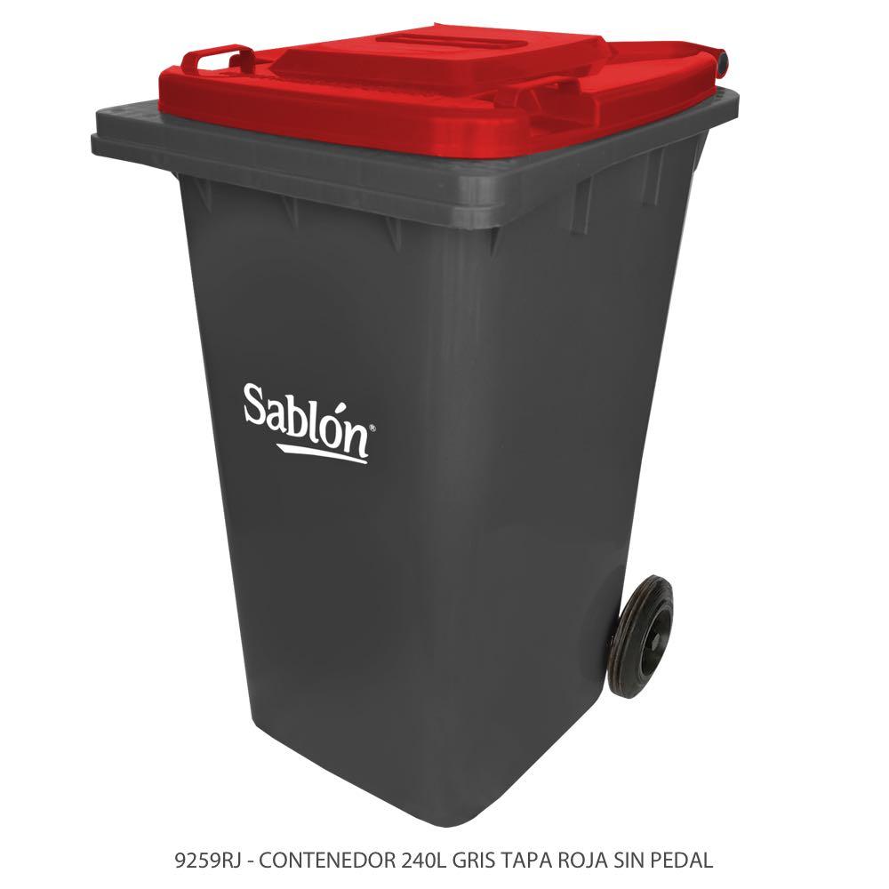 Contenedor de basura de 240 litros color gris con tapa de color rojo y sin pedal Modelo 9259RJ Marca Sablón
