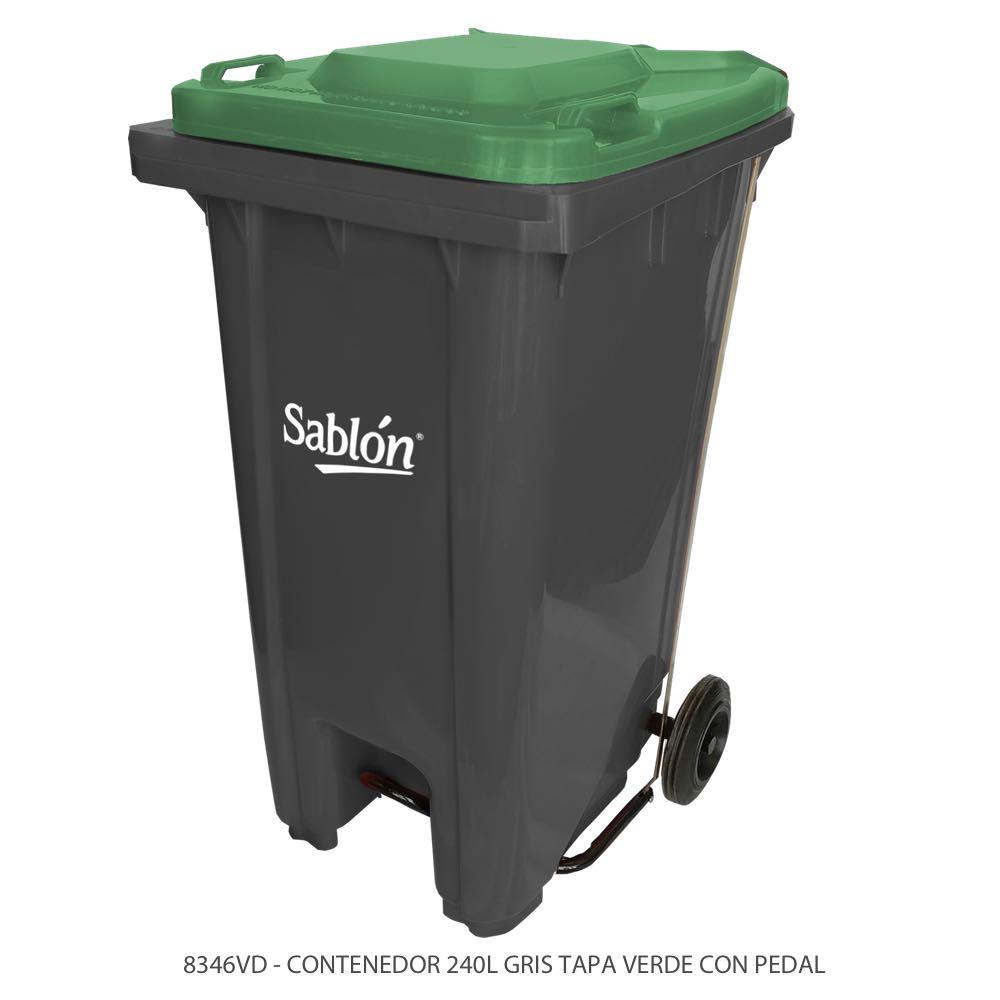Contenedor de basura de 240 litros color gris con tapa de color verde y con pedal Modelo 8346VD Marca Sablón