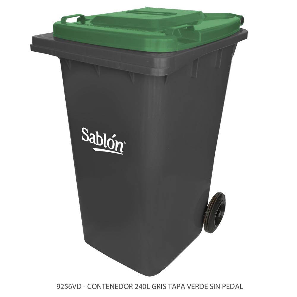 Contenedor de basura de 240 litros color gris con tapa de color verde y sin pedal Modelo 9256VD Marca Sablón