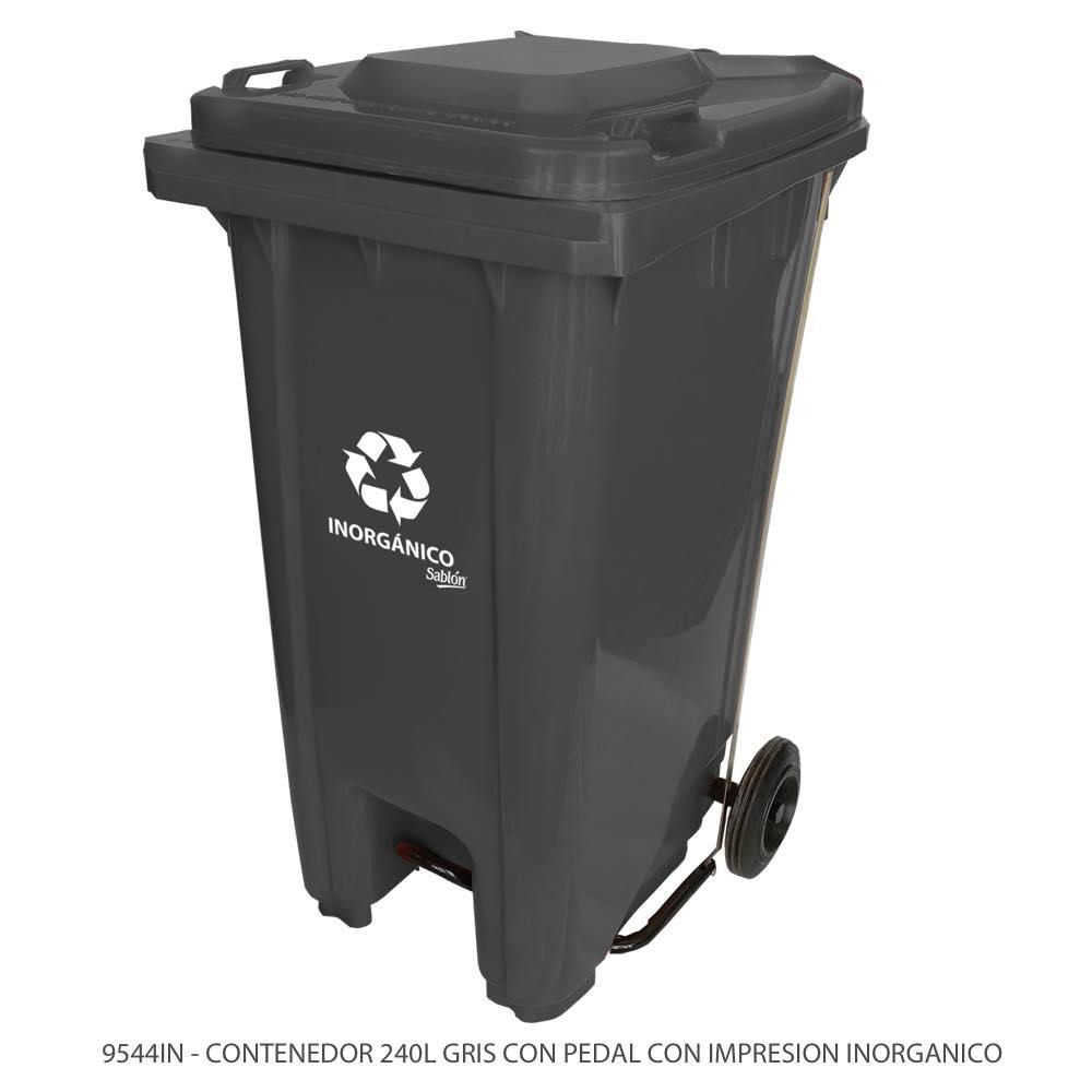 Contenedor de basura de 240 litros color gris con tapa gris con pedal y con impreso inorgánico Modelo 9544IN Marca Sablón