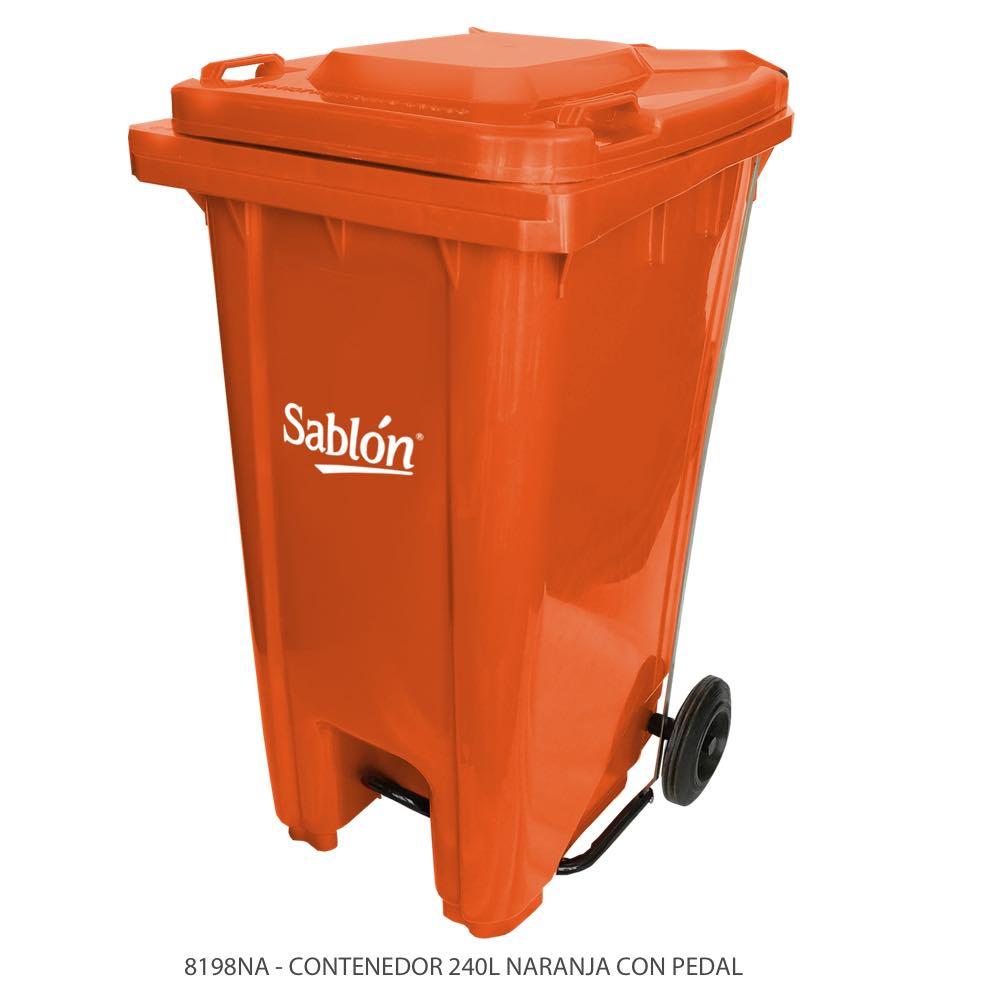 Contenedor de basura de 240 litros color naranja con tapa de color naranja y con pedal Modelo 8198NA Marca Sablón