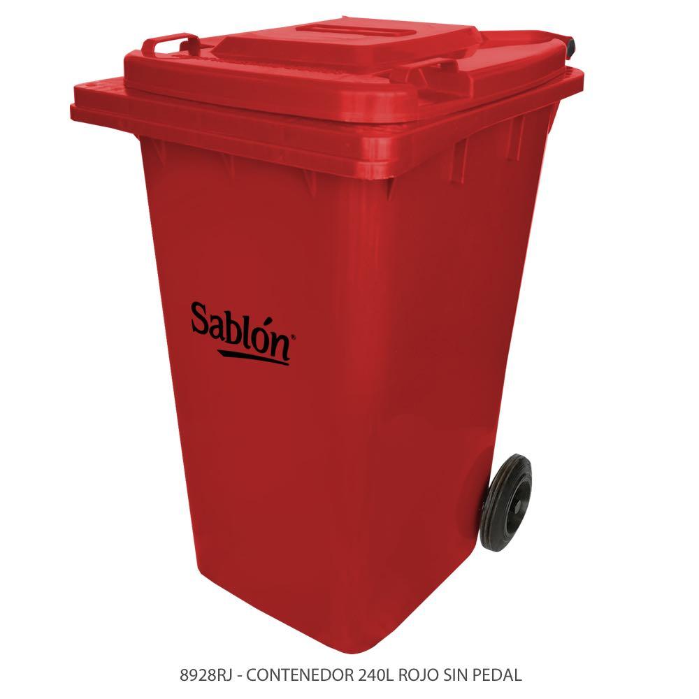 Contenedor de basura de 240 litros color rojo con tapa de color rojo sin pedal Modelo 8928RJ Marca Sablón