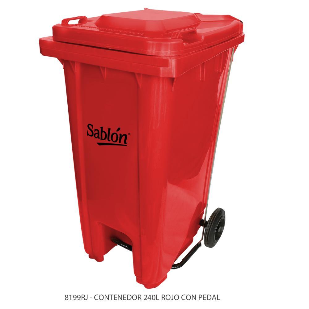 Contenedor de basura de 240 litros color rojo con tapa de color rojo y con pedal Modelo 8199RJ Marca Sablón