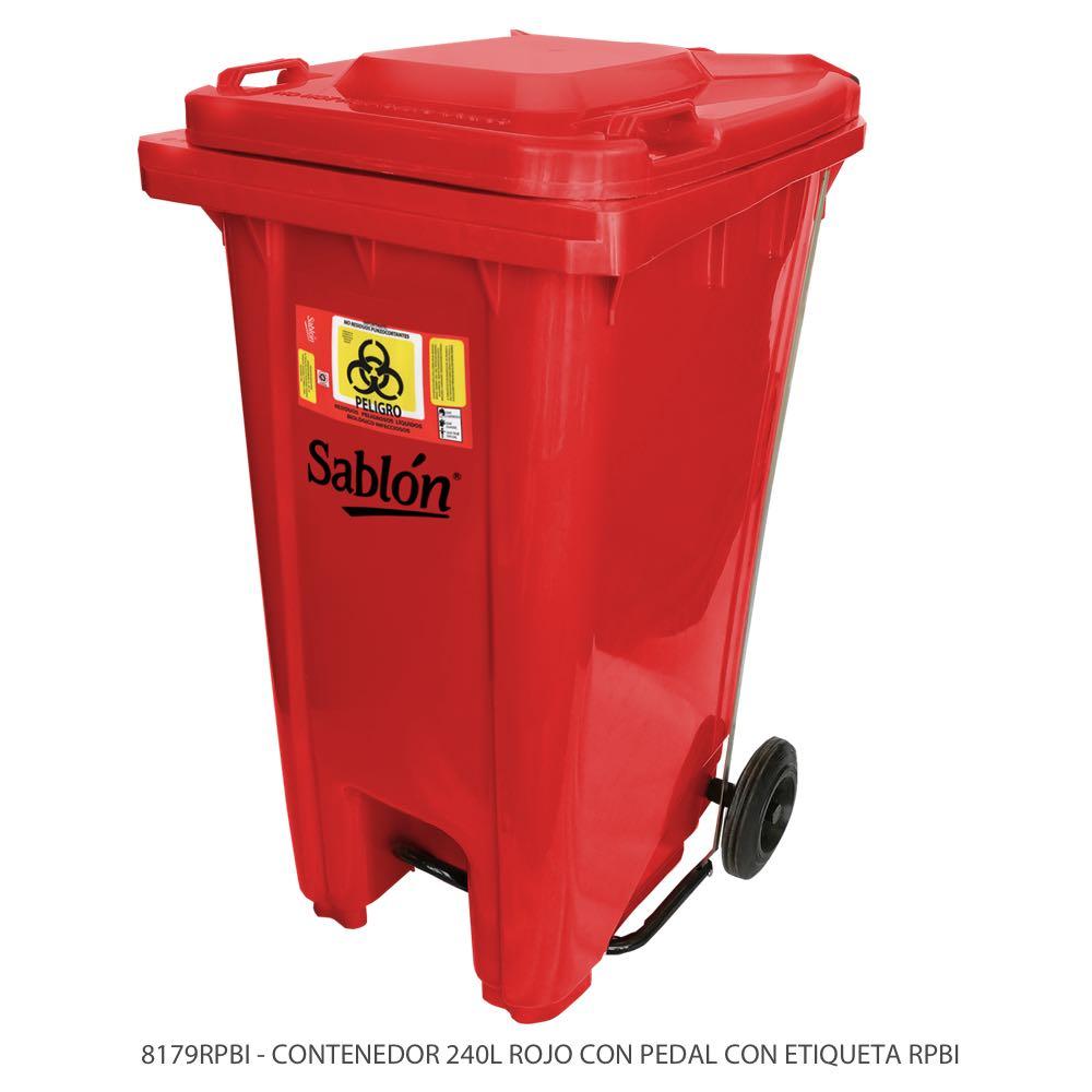 Contenedor de basura de 240 litros color rojo con tapa rojo con pedal y con etiqueta RPBI Modelo 8179RPBI Marca Sablón