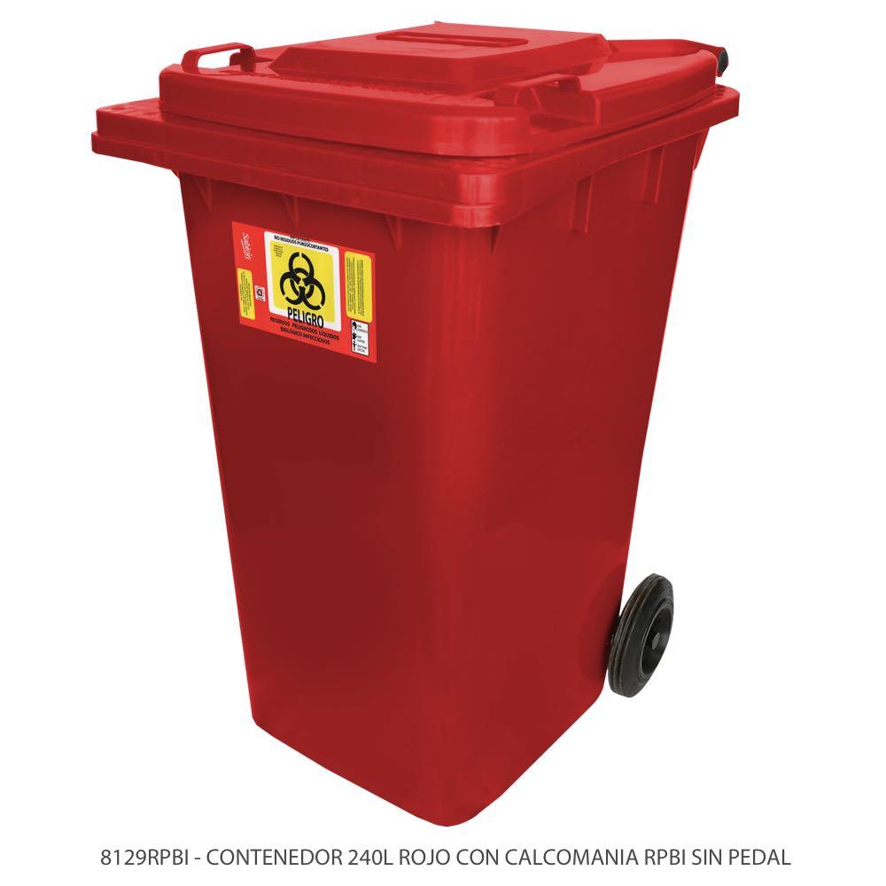 Contenedor de basura de 240 litros color rojo sin pedal y con etiqueta RPBIo Modelo 8129RPBI Marca Sablón