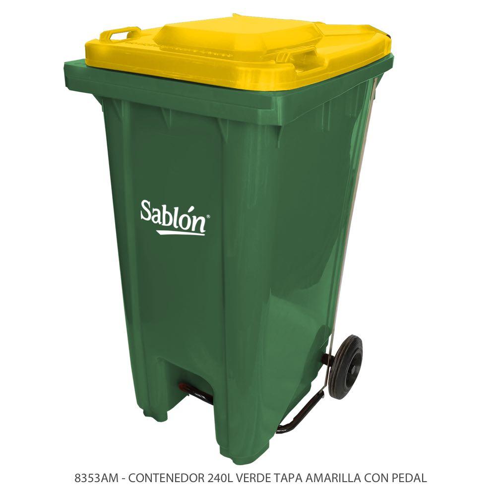 Contenedor de basura de 240 litros color verde con tapa de color amarillo y con pedal Modelo 8353AM Marca Sablón