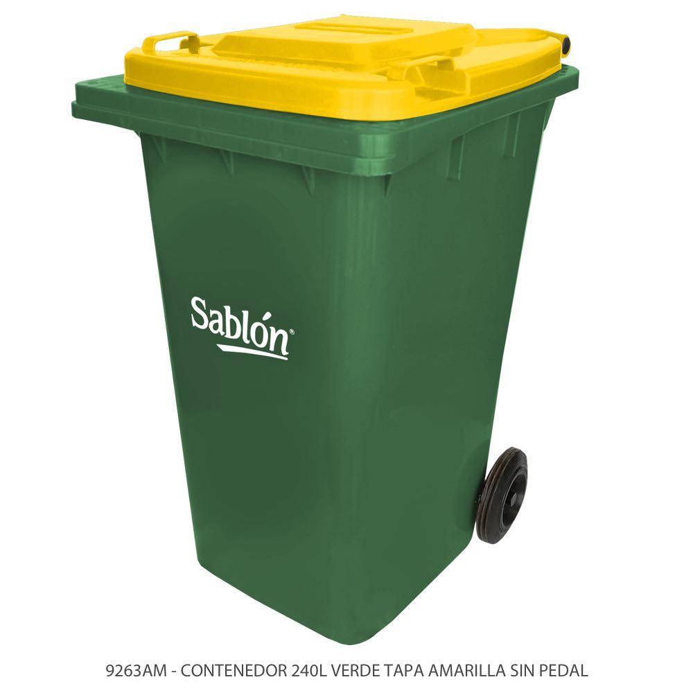 Contenedor de basura de 240 litros color verde con tapa de color amarillo y sin pedal Modelo 9263AM Marca Sablón