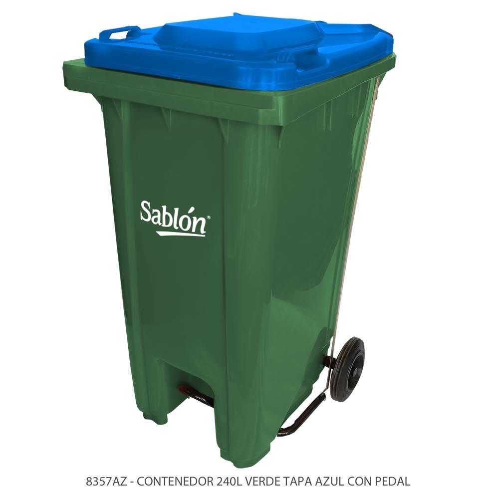 Contenedor de basura de 240 litros color verde con tapa de color azul y con pedal Modelo 8357AZ Marca Sablón