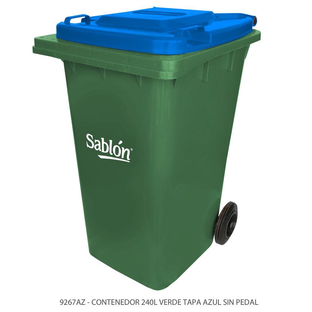 Contenedor de basura de 240 litros color verde con tapa de color azul y sin pedal Modelo 9267AZ Marca Sablón