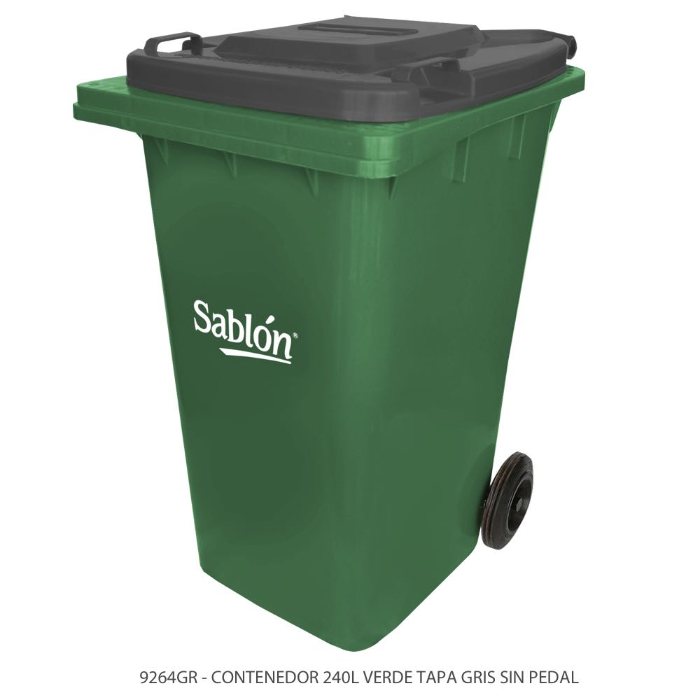 Contenedor de basura de 240 litros color verde con tapa de color gris y sin pedal Modelo 9264GR Marca Sablón