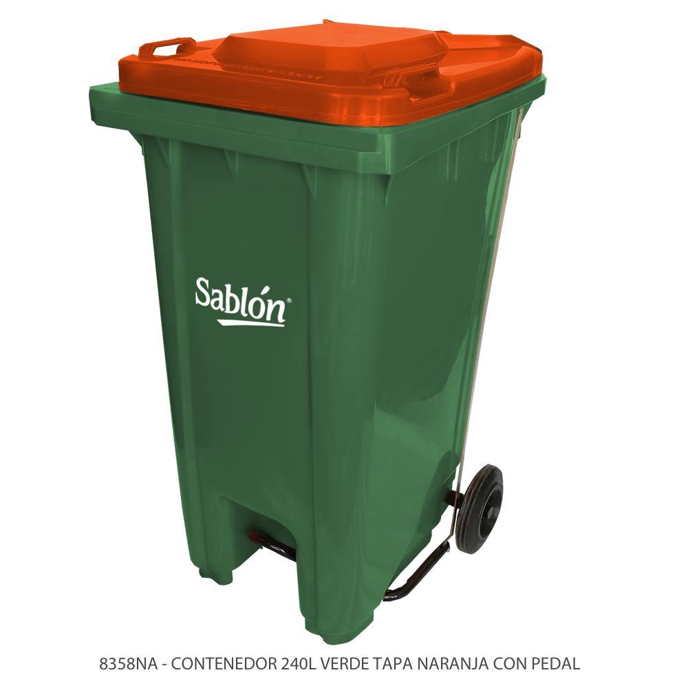 Contenedor de basura de 240 litros color verde con tapa de color naranja y con pedal Modelo 8358NA Marca Sablón