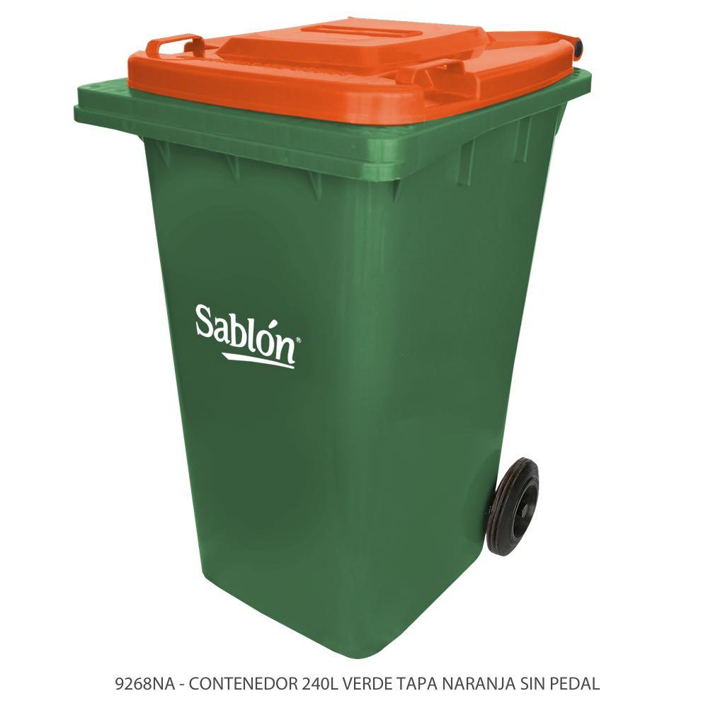 Contenedor de basura de 240 litros color verde con tapa de color naranja y sin pedal Modelo 9268NA Marca Sablón