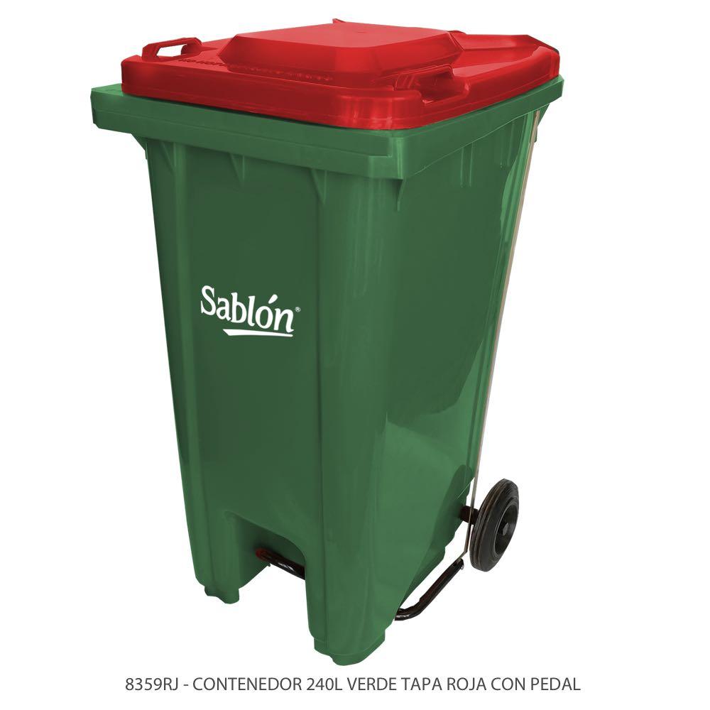 Contenedor de basura de 240 litros color verde con tapa de color rojo y con pedal Modelo 8359RJ Marca Sablón