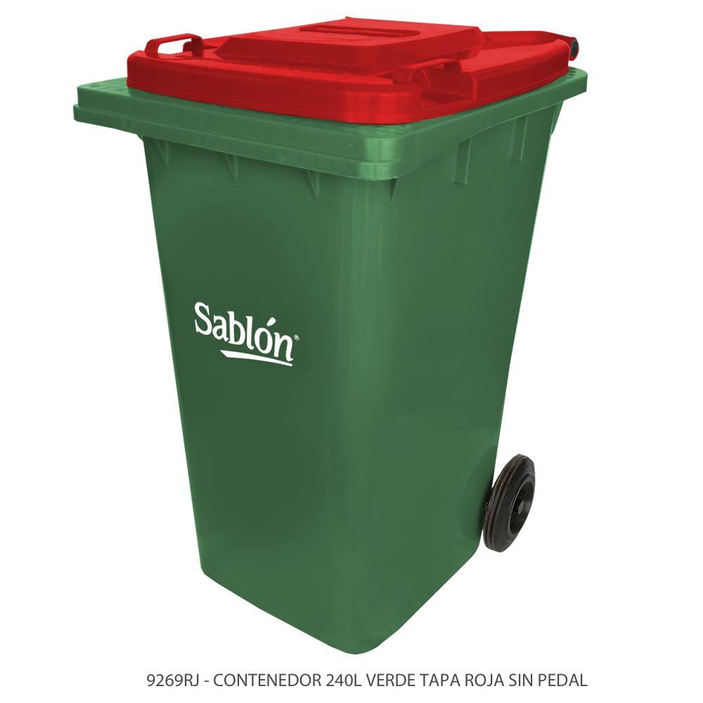 Contenedor de basura de 240 litros color verde con tapa de color rojo y sin pedal Modelo 9269RJ Marca Sablón