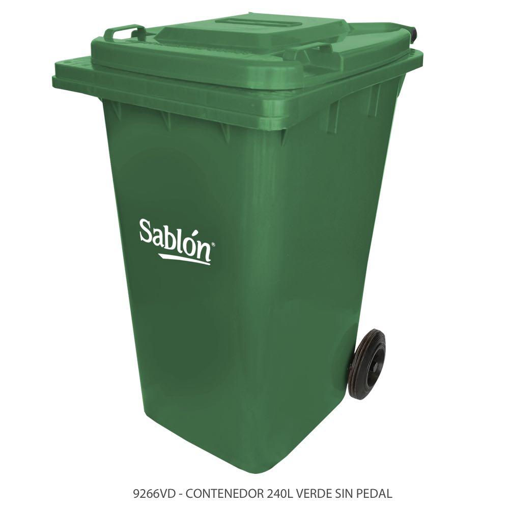 Contenedor de basura de 240 litros color verde con tapa de color verde y sin pedal Modelo 9266VD Marca Sablón