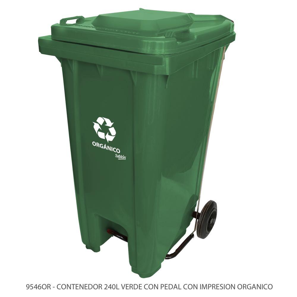 Contenedor de basura de 240 litros color verde con tapa verde con pedal y con impreso orgánico Modelo 9546OR Marca Sablón
