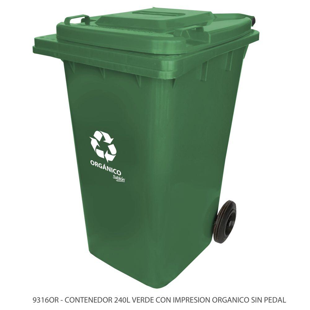 Contenedor de basura de 240 litros color verde sin pedal y con impreso orgánico Modelo 9316OR Marca Sablón