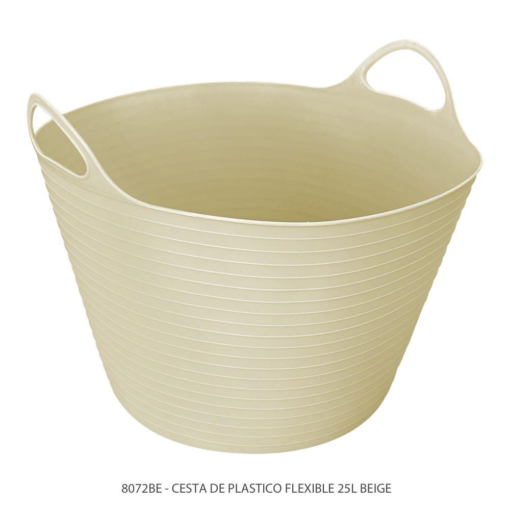 Cubeta de plástico flexible de 25 litros color beige modelo 8072BE Marca Sablón