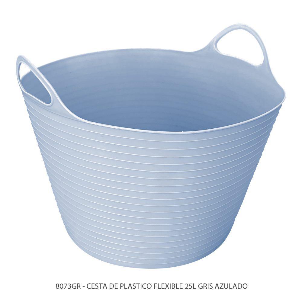Cubeta de plástico flexible de 25 litros color gris azulado modelo 8073GR Marca Sablón