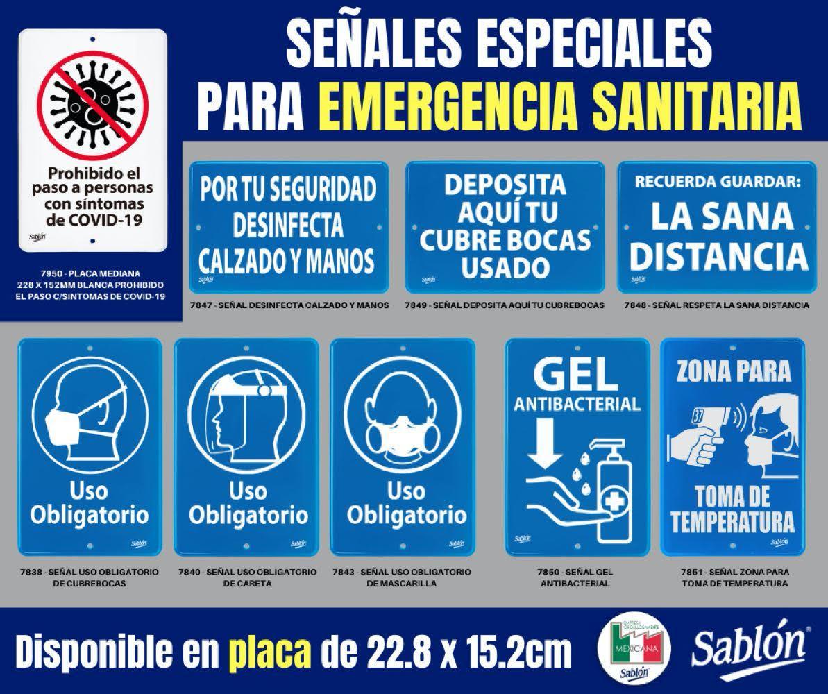 Carteles especiales para emergencia sanitaria