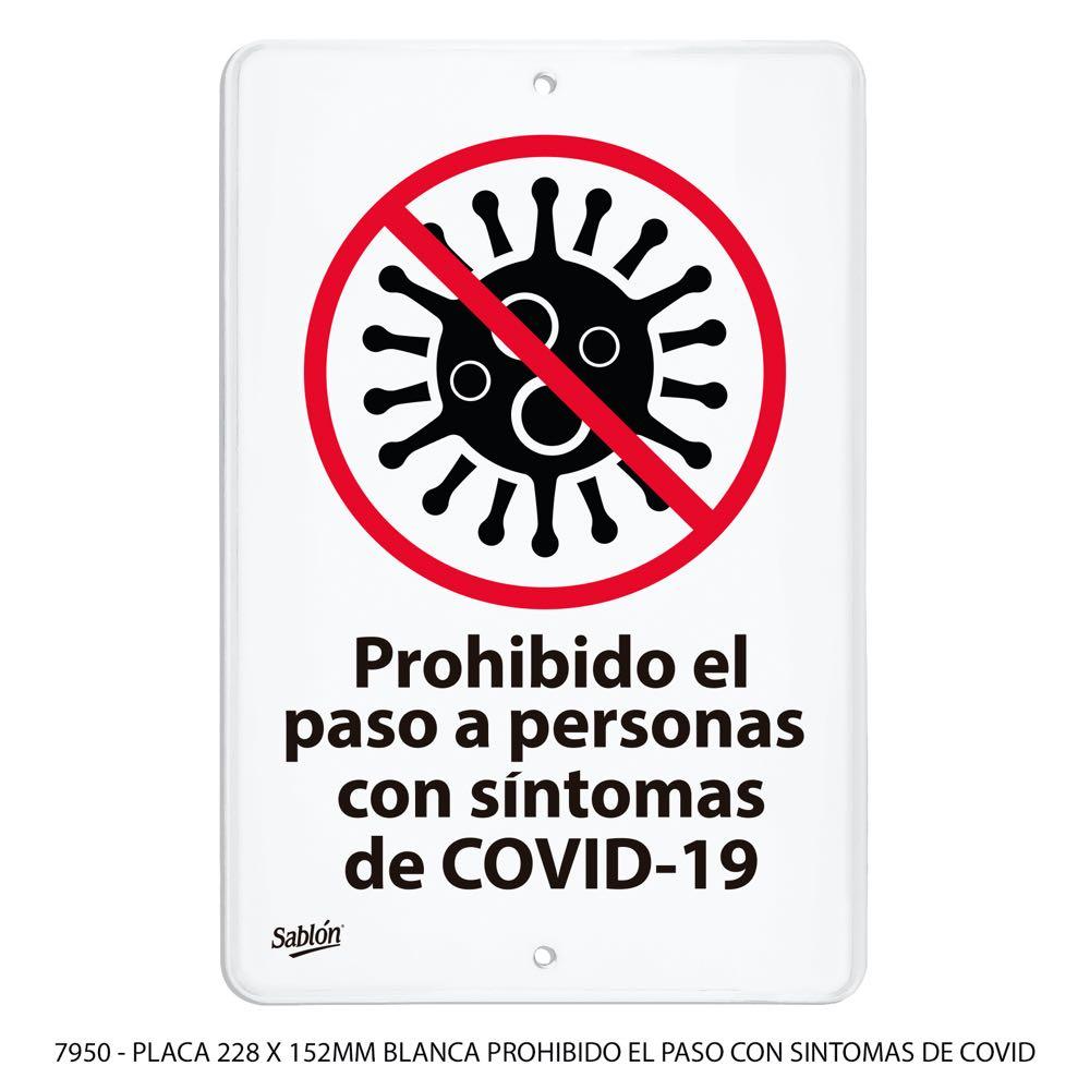 Señal Prohíbido el paso a personas con síntomas de covid19 modelo 7950 Sablón