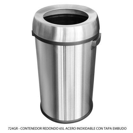 Bote de basura de 65 litros de acero inoxidable con tapa embudo modelo 724GR Sablón