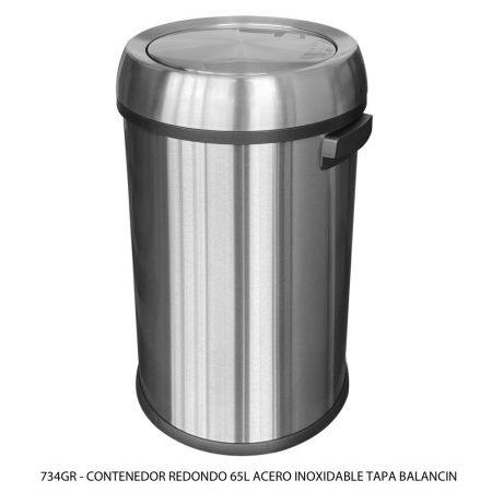 Bote de basura de 65 litros de acero inoxidable tapa balancin modelo 734GR Sablón