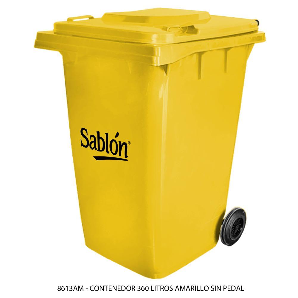 Contenedor de basura color amarillo de 360 litros sin pedal modelo 8613AM Marca Sablón