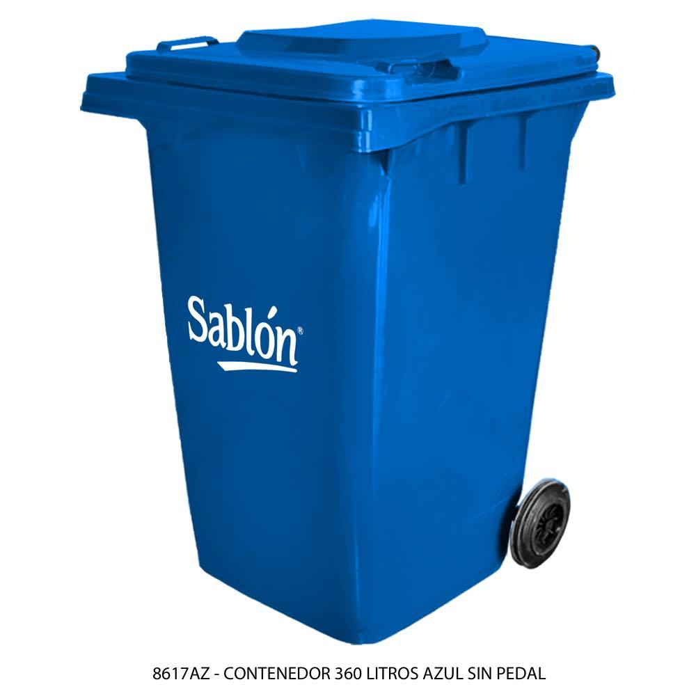 Contenedor de basura color azul de 360 litros sin pedal modelo 8617AZ Marca Sablón