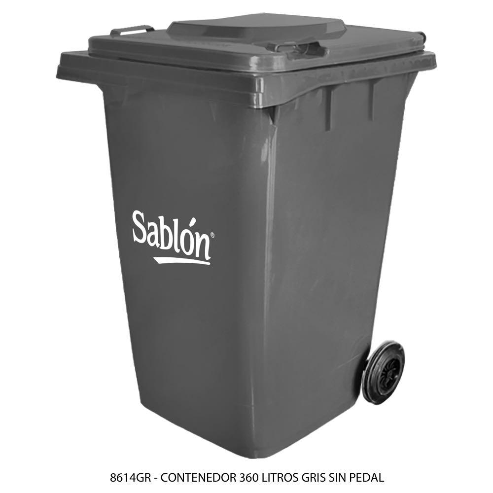 Contenedor de basura color gris de 360 litros sin pedal modelo 8614GR Marca Sablón
