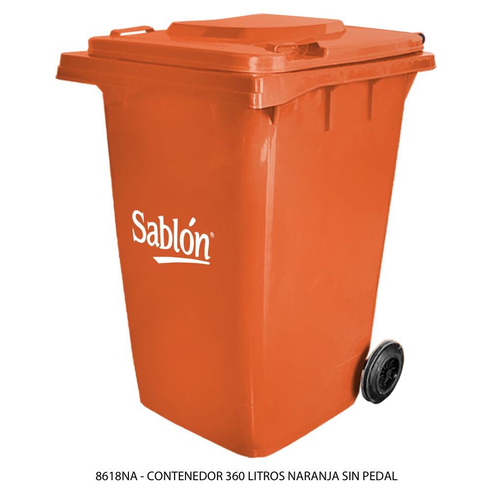 Contenedor de basura color naranja de 360 litros sin pedal modelo 8618NA Marca Sablón