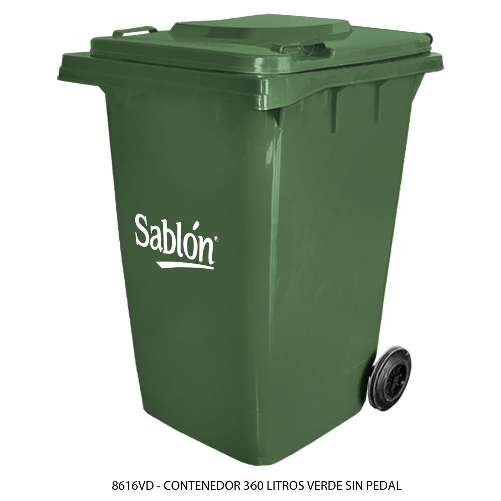 Contenedor de basura color verde de 360 litros sin pedal modelo 8616VD Marca Sablón