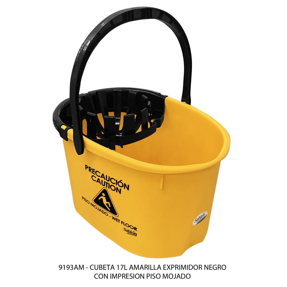 Cubeta de 17 litros amarilla con exprimidor color negro modelo 9193AM de Sablón